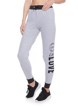 Love Graphic Joggers with Contrast Trim - 1061033872021