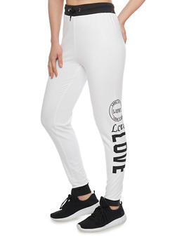 Love Graphic Joggers with Contrast Trim - WHITE - 1061033872021