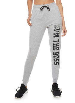 Fleece Joggers with News Flash Im The Boss Graphic - 1061033878045