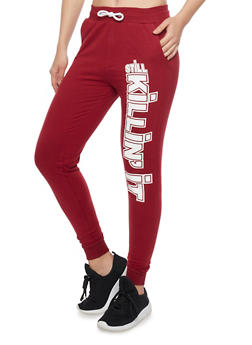 Fleece Joggers with Still Killin It Graphic - WINE - 1061033878047