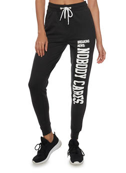Fleece Joggers with Breaking News: Nobody Cares Graphic - 1061033878048