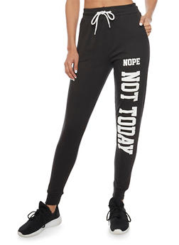 Fleece Joggers with Nope Not Today Graphic - BLACK - 1061033878049
