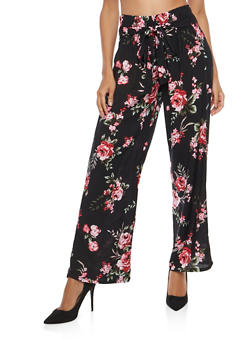 Printed Tie Front Palazzo Pants - BLACK FLORAL - 1061038342923
