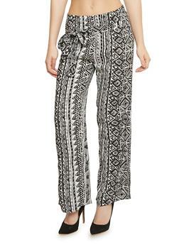 Printed Tie Front Palazzo Pants - BLACK/WHITE - 1061038348230