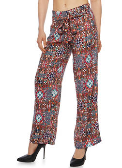 Printed Tie Front Palazzo Pants - PINK - 1061038348230