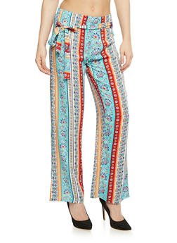Printed Tie Front Palazzo Pants - BLUE - 1061038348230