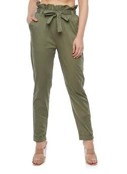 Tie Front Roll Cuff Poplin Pants - 1061038349201