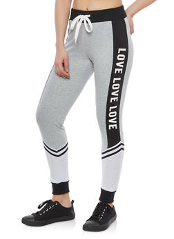 Color Block Love Graphic Sweatpants - 1061051062463