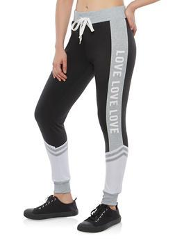 Color Block Love Graphic Sweatpants - 1061051062463