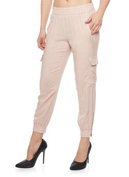 Side Zip Smock Waist Cargo Joggers - BLUSH - 1061051063021
