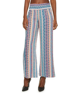 Mid Rise Aztec Print Palazzo Pants - TURQUOISE - 1061051063173