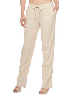 Tie Waist Belted Linen Pants - 1061051063413