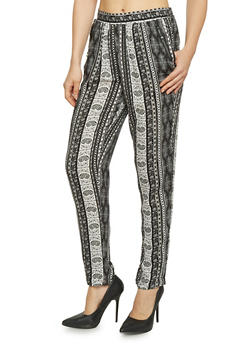Aztec Print Zip Pocket Pants - 1061051063415