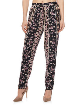 Aztec Print Zip Pocket Pants - MAUVE - 1061051063415