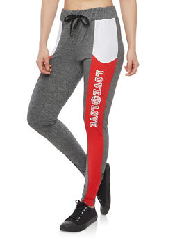 Color Block Love Graphic Activewear Leggings - 1061051063463