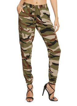 Linen Drawstring Printed Joggers - CAMOUFLAGE - 1061051063464