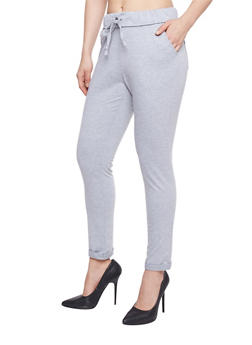 Skinny Fixed Cuff Sweatpants with Drawstring - 1061051063472