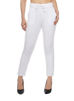 Skinny Fixed Cuff Sweatpants with Drawstring - WHITE - 1061051063472