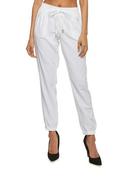 Drawstring Linen Joggers with Gold Zipper Accents - WHITE - 1061051063475