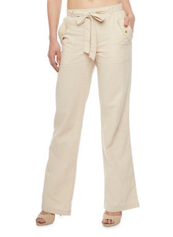 Linen Straight Leg Casual Pants with Flap Over Pockets - 1061051063476