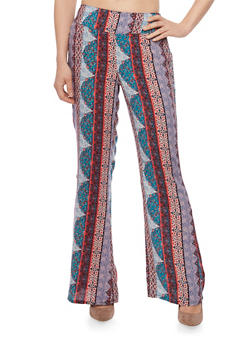 Aztec Bell Bottom Palazzo Pants - CORAL - 1061051063478