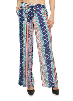 Printed Palazzo Pants with Front Sash - NAVY - 1061051063480