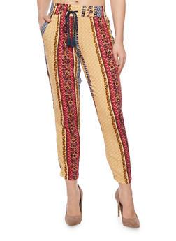 Printed Drawstring Jogger Pants - MUSTARD - 1061051063481