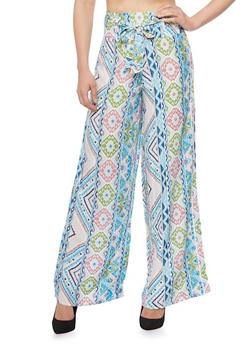 Abstract Print Tie Front Palazzo Pants - 1061051063492