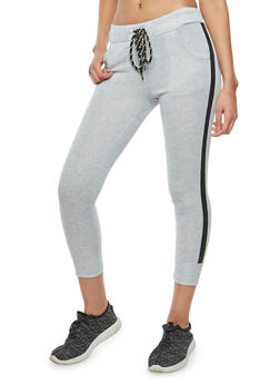 Side Stripe Cropped Joggers - 1061051063591
