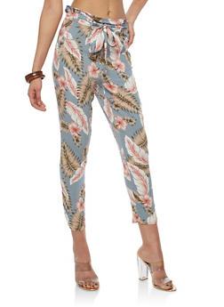 Tie Front Printed Crop Pants - GRAY - 1061051063617