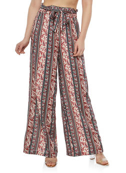 Printed Palazzo Pants with Belt - WINE - 1061051063619