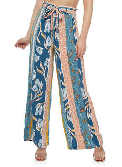 Printed Palazzo Pants with Belt - CORAL - 1061051063619