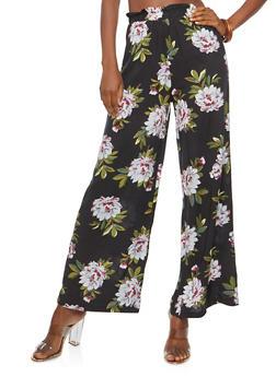 Floral Gauze Knit Palazzo Pants - BLACK - 1061051063627