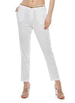 Belted Linen Pants - 1061051063633