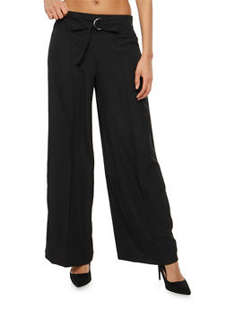Belted Tie Front Palazzo Pants - 1061051063638