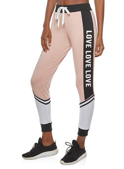 Love Graphic Color Block Joggers - 1061051063642
