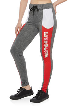 Love Graphic Drawstring Waist Active Pants - 1061051063643