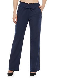 Smocked Waist Linen Pants - 1061051063653