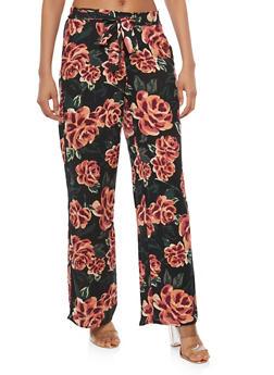 Floral Tie Front Palazzo Pants - BLACK/ORANGE - 1061051063680