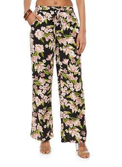 Floral Tie Front Palazzo Pants - BLK/MAUVE - 1061051063680