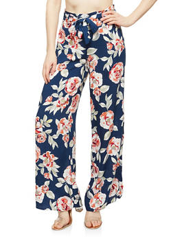 Floral Tie Front Palazzo Pants - NAVY - 1061051063683