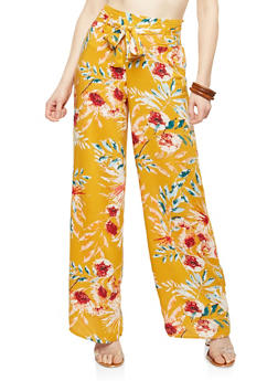 Floral Tie Front Palazzo Pants - MUSTARD - 1061051063683