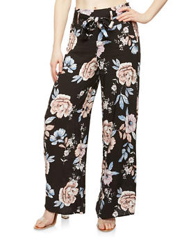 Floral Tie Front Palazzo Pants - TAUPE - 1061051063683