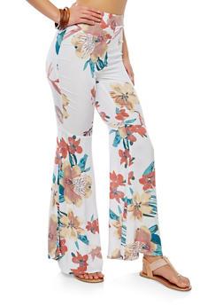 Floral Bell Bottom Pants - 1061051063693