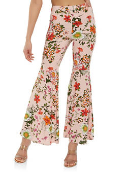 Floral Bell Bottom Pants - 1061051063693