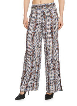 Smock Waist Printed Palazzo Pants - ORANGE - 1061051063713