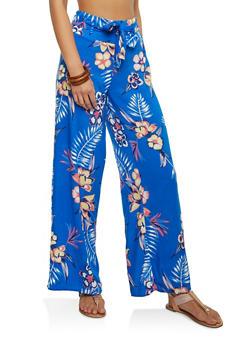 Tropical Print Tie Front Palazzo Pants - 1061051063863