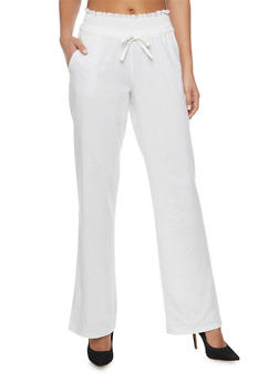 Lightweight Smocked Drawstring Waist Palazzo Pants - WHITE - 1061051066137