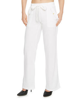 Casual Linen Tie Front Pants with Pork Chop Pockets - WHITE - 1061051066743