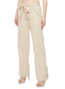 Casual Linen Tie Front Pants with Pork Chop Pockets - 1061051066743